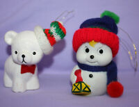 Vintage Snowman Christmas Bell Ornament Porcelain Giftco AND White Bear Ornament