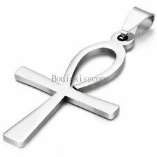 Charm Egyptian Ankh Cross Men's Women's Pendant Necklace Stainless Steel Chain