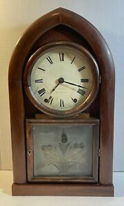 Antique E. C. Brewster Remote Fusee Beehive Frosted Glass 8-Day Clock Runs 1840s