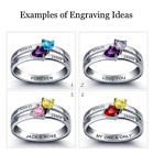 Size 6 Split Band Birthstone Hearts Ring 925 Silver, Personalised Christmas Gift