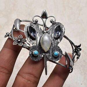 Rainbow Moonstone Amethyst Handmade Adjustable Bangle Jewelry 27 Gms AB 3093