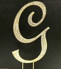 Crystal Rhinestone Covered GOLD Monogram  Wedding Cake Topper Letter Initial