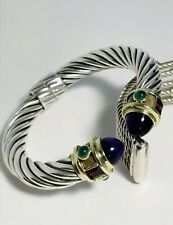 David Yurman Sterling Silver/14K Gold 10MM  Renaissance Bracelet w/Amethyst