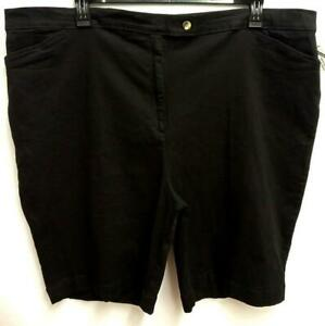 NWOT Bonjour black denim spandex stretch multi pockets women's bermuda shorts 3X