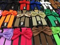 US Matching Men & Women Bow Tie Suspender Set For Adults Wedding Formal Wear