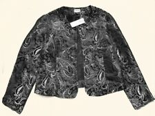 $128 NWT Chico's silver black beaded paisley open front 1-button jacket 2 M L