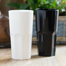 6 x 30cl White Black Reusable Plastic Drinking Glasses Hi-Ball Tumblers Bar Cup