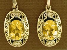 E093 Solid 9K Gold Natural Citrine Drop Earrings Ornate Victorian Scroll Design