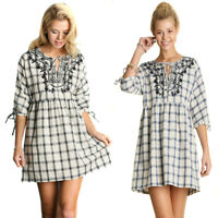 UMGEE Womens Boho Vintage Chic Plaid Embroidered Woven 3/4 Sleeve Dress S M L