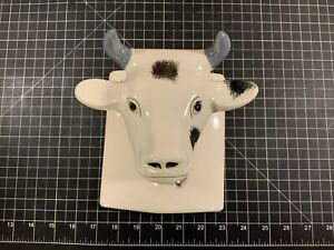 Towle Vintage White Ceramic Cow Bull Head Towel Apron Holder Wall Hook B9