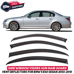 Side Window Vent Visors Deflectors For BMW 5 E60 Sedan 2002-2010 Sun Rain Guard
