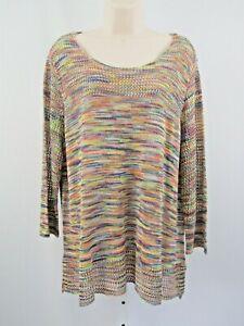 NEW John Paul Richard Multi Color 3/4 Sleeve Sweater XL