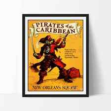 Vintage PIRATES OF THE CARIBBEAN DISNEYLAND POSTER Reprint Not Framed 18x24