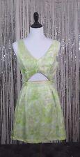 SANS SOUCI Women's Floral Sleeveless Cut Out Green Shimmer Mini party Dress M