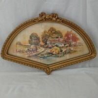 Vtg Homco Home Interiors Fan Picture Rustic Country Farmhouse Cottage Gold Frame