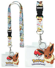 2016 Pokemon GO EEVEE EVOLUTION FACE Lanyard ID Park Pin Holder W/ Rubber Charm