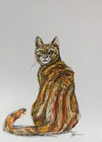 Print of Original ink & watercolour painting ginger tom cat home decor wall art