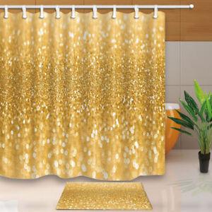 Gold Sequin Christmas Decor Fabric Shower Curtain Set Bathroom 71 Inch Long