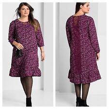Sheego @ Curvissa Size 20 Berry Flower Bird Print DRESS Boho Frill Hem Cute £78