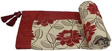 RED CREAM FLORAL CHENILLE EMBROIDERED LEAVES TASSELLED 145X180CM THROW BLANKET