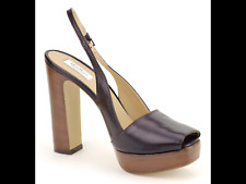 Max Mara Women's Shoes Size 8.5 (38.5)Leather Platform Slingbacks Heels $575 NEW