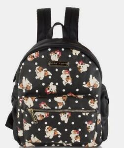 Betsey Johnson Kitsch Side Bow Backpack Dots & Puppies Red Bows SEALED