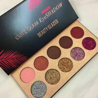 Diamond Glitter Eyeshadow Sequins MakeUp Cosmetic Pressed 10 Colors Palette S9N5