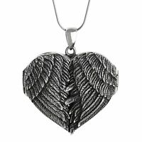 Large Angel Wings Heart Locket Necklace - 925 Sterling Silver Memorial Gift NEW