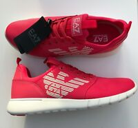 EMPORIO ARMANI EA7 Pink Trainers Sneakers Runners Logo Design Size UK 10 BNIB