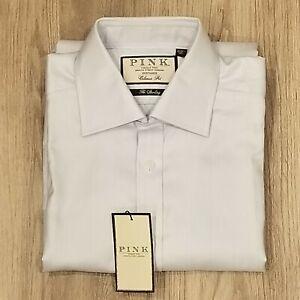 Thomas Pink Cotton Herringbone Standard Cuff Blue Dress Shirt Mens 15-33 1/2
