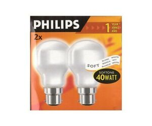 2x Philips Softone T55 T-Shape 40W BC B22 Soft White Dimmable Warm White Ligh...
