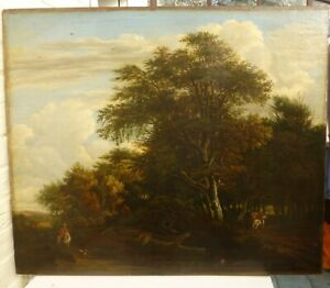 Large 18th century oil painting figures on horseback with a dog