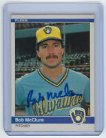 1984 BREWERS Bob McClure signed card Fleer #206 AUTO Autographed Milwaukee