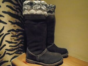 SIZE 4 NEW NO TAGS BROWN FAUX SUEDE FURRY LINED BOOTS UNBRANDED