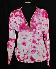 Kors BoHo Hippie Gypsy Coachella CHIC Pink Tie Dye Beaded Blouse Shirt Top L