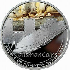 Cook Islands 2010 Famous Naval Battles Hampton Roads Monitor $1 Silver Prf OGP