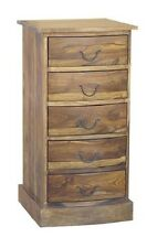 JALI 5 DRAWER BOW CHEST OF DRAWERS/ TALL BOY/ SHEESHAM WOOD FARM HOUSE FURNITURE