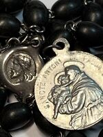 "† HTF VINTAGE ""ST ANTHONY & FRANCIS ASSISI"" BLACK WOOD & STEEL CHAPLET ROSARY †"