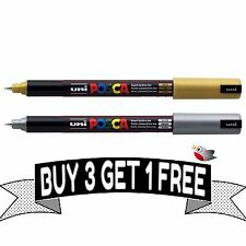 "POSCA MARKER PEN PC-1MR ""GOLD & SILVER SET"" 1 of each colour - BUY 3 GET 1 FREE"