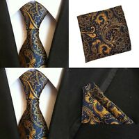 Men Blue Yellow Paisley Silk Ties Pocket Square Handkerchief Hanky Lot HZBWT080