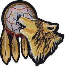 "HOWLING WOLF INDIAN DREAMCATCHER 12"" x 12"" LARGE BACK PATCH Biker LRG-0106"