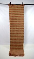 Vtg Tan Straw Woven Red Coral Pink Zig Zag Striped Bohemian Runner Rug 2' x 7'
