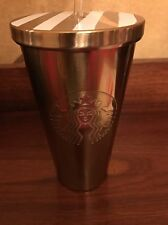 New Starbucks Gold Tumbler W/ Straw Stainless 16oz