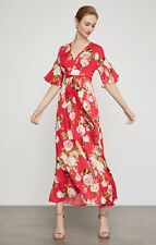 BCBGMAXAZRIA Floral Maxi Dress Scarlet Rose Bloom Size Small MSRP: $328.00