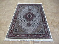 5 X 7'1 Hand Knotted Persian Ivory Mahi Tabrez Oriental Rug Wool & Silk G6435
