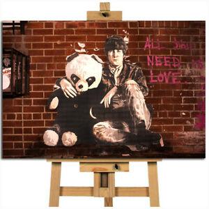 John Lennon teddy street art graffiti with panda canvas wall art print