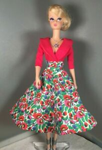 Silkstone Barbie Couture Floral Cotton and Silk Dress, Necklace by Solveig OOAK