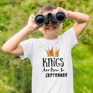 Personalised Boys Birthday T-Shirts Kings BIRTH Month Age 2-12 Years Old tshirt