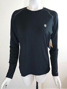 NWT Coolibar Women's UPF 50+ Long Sleeve Running Shirt with Pocket, Black, Sz. S