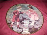 """Antique ROUND  9"""" Victorian FRAME WITH VICTORIAN CHILDREN art print-Metal Frame"""